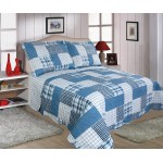 Check Blue Throw Over Bedspread Set - DB
