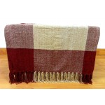 Chenille Check Red/Beige Throw - 130cm x 180cm