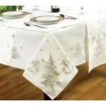 "Festive White / Silver 54""x70"" - Xmas Table Cloth Range"