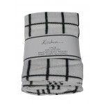 3 Pack Tea Towels - Fancy Stripe Black