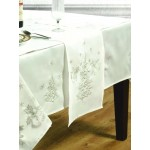 "Festive White / Silver 70""x90"" - Xmas Table Cloth Range"