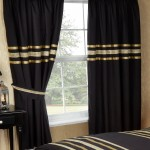 "Glitz Black With Gold Trim - 66x72"" Curtains"