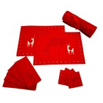 Felt Cut Deer Red 12PC Set - Xmas Table Accessory Range
