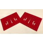 Felt Cut Deer Red Placemats 2PK - Xmas Table Accessory Range
