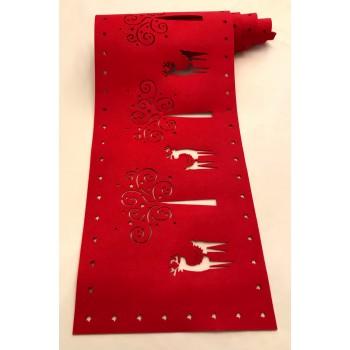 Felt Cut Deer Red Runner - Xmas Table Accessory Range