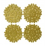 Glitter Snowflake Gold Coasters 4PK - Xmas Table Accessory Range