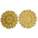 Glitter Snowflake Gold Placemats 2PK - Xmas Table Accessory Range