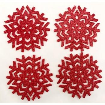 Glitter Snowflake Red Coasters 4PK - Xmas Table Accessory Range