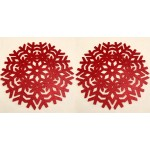 Glitter Snowflake Red Placemats 2PK - Xmas Table Accessory Range