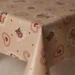 PVC Beige Owls - Vinyl Table Cloth Range