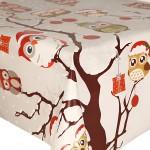 PVC Festive Owls On Tree - Vinyl Table Cloth Range