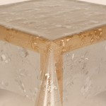 PVC Clear Embossed Glitter Flower - Clear Table Cloth Range
