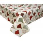 PVC Festive Trees Red/Gold - Vinyl Table Cloth Range