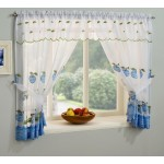 "Winchester Blue - 47x36"" Curtains, Valance, Tie-Backs"