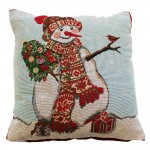 "CC Xmas Happy Snowman - 17"" Xmas Cushion Cover"
