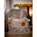 Sherpa Backed Throw Wishing For Unicorns - Xmas
