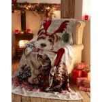 Sherpa Backed Throw Ivy & Snowy - Xmas