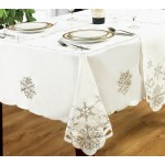 Snowflake White / Silver Napkins 4 Pk - Xmas Table Cloth Range