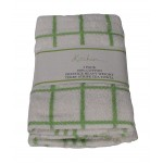 3 Pack Tea Towels - Fancy Stripe Green
