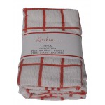 3 Pack Tea Towels - Fancy Stripe Red