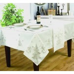 "Festive White / Silver 54""x70"" - Xmas Table Cloth Range"