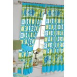 "Daisy Check Azure - 66x72"" Curtains"