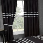 "Glitz Black With Silver Trim - 66x72"" Curtains"