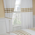 "Glitz White With Gold Trim - 66x72"" Curtains"
