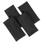 Linen Look Black Napkins 4PK - Slubbed Table Cloth Range