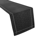 Linen Look Black Table Runner - Slubbed Table Cloth Range