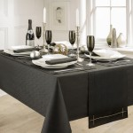 "Linen Look Black 52""x70"" - Slubbed Table Cloth Range"