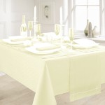 "Linen Look Cream 52""x70"" - Slubbed Table Cloth Range"