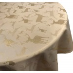 "Large Stag Cream / Gold 69"" RD - Xmas Table Cloth Range"