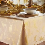 "Large Stag Cream / Gold 52""x70"" - Xmas Table Cloth Range"