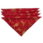 Large Stag Red / Gold Napkins 4PK - Xmas Table Cloth Range