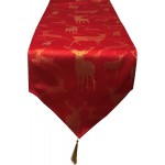 Large Stag Red / Gold Table Runner - Xmas Table Cloth Range
