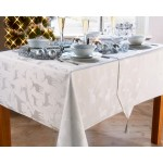 "Large Stag White / Silver 52""x70"" - Xmas Table Cloth Range"