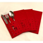 Felt Cut Deer Red Cutlery Holder 4PK - Xmas Table Accessory Range