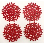 Glitter Snowflake Red Coasters 4PK - Xmas Table Accessory Range