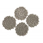 Glitter Snowflake Silver Coasters 4PK - Xmas Table Accessory Range