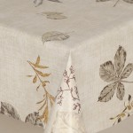 PVC Leaves Gold - Vinyl Table Cloth Range