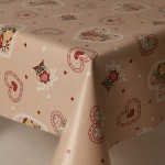 PVC Beige Owls - Vinyl Table Cloth Range