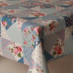 PVC Patchwork Rose Blue - Vinyl Table Cloth Range