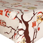 PVC Festive Owls On Tree - Vinyl Table Cloth Range