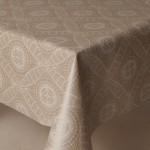 PVC Lace Print Taupe - Vinyl Table Cloth Range