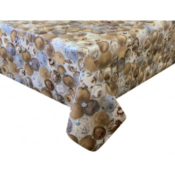 PVC Baubles Gold - Vinyl Table Cloth Range