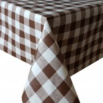 PVC Large Check Brown - Vinyl Table Cloth Range