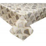 PVC Festive Trees Grey/Gold - Vinyl Table Cloth Range