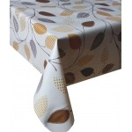PVC Funky Leaves Brown - Vinyl Table Cloth Range