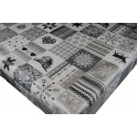 PVC Reindeer Patchwork Grey - Vinyl Table Cloth Range